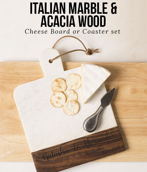 Italian Marble & Acacia Wood Cheese Boards or Coaster Sets